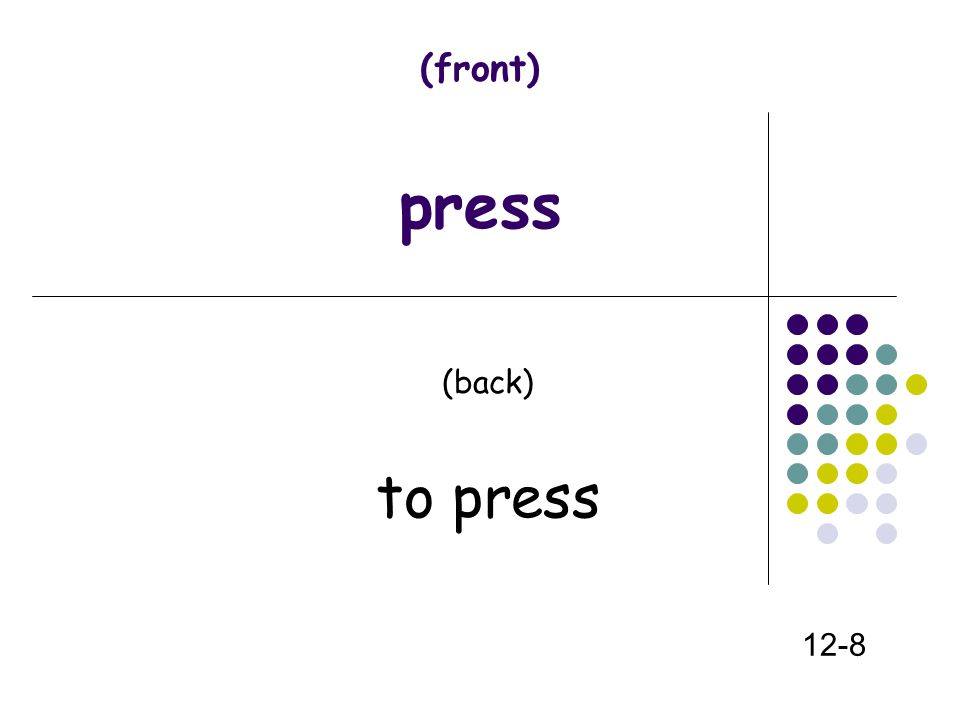 (front) press (back) to press 12-8