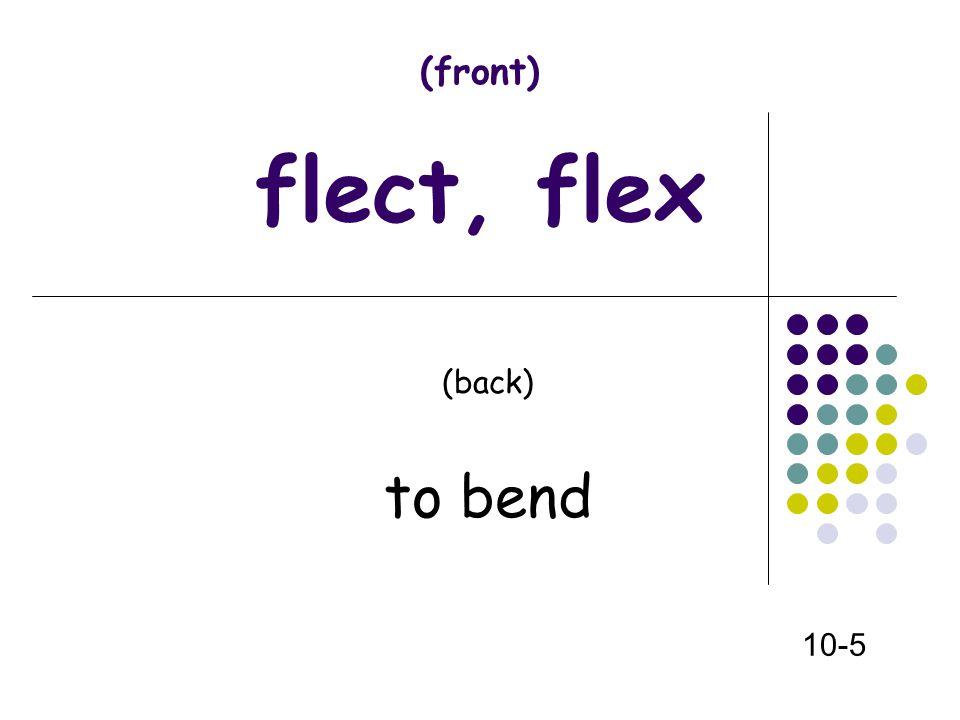 (front) flect, flex (back) to bend 10-5
