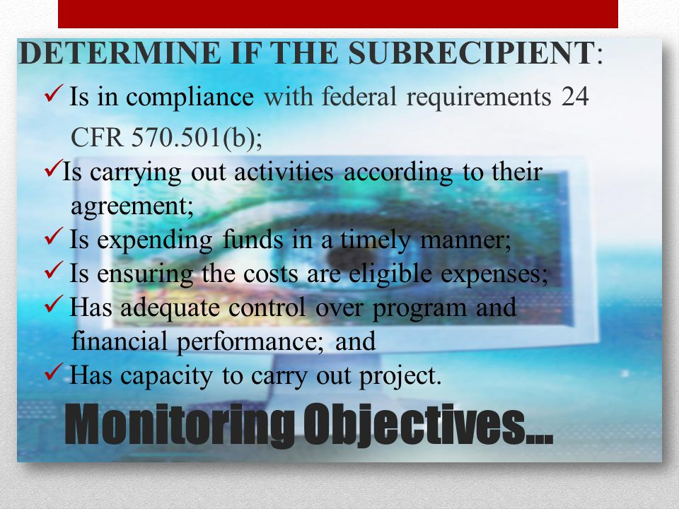 Monitoring Objectives… DETERMINE IF THE SUBRECIPIENT: Is in compliance with federal requirements 24 CFR 570.501(b); Is carrying out activities according to their agreement; Is expending funds in a timely manner; Is ensuring the costs are eligible expenses; Has adequate control over program and financial performance; and Has capacity to carry out project.