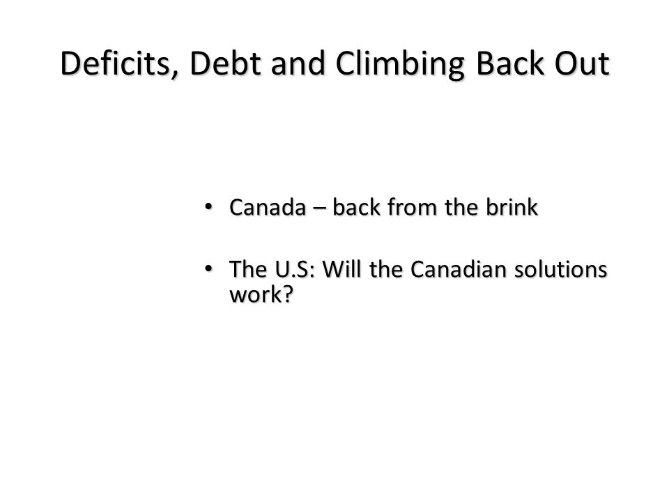 Deficits, Debt and Climbing Back Out Canada – back from the brink Canada – back from the brink The U.S: Will the Canadian solutions work.