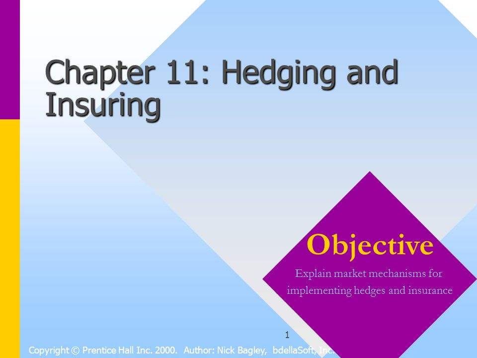 1 Chapter 11: Hedging and Insuring Copyright © Prentice Hall Inc.