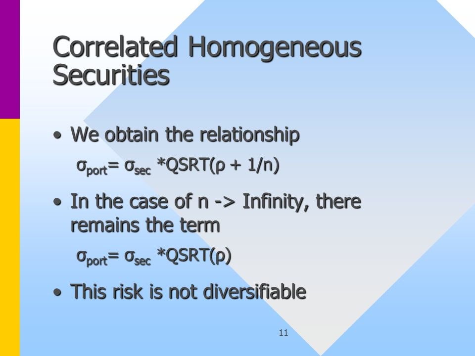 11 Correlated Homogeneous Securities We obtain the relationshipWe obtain the relationship σ port = σ sec *QSRT(ρ + 1/n) In the case of n -> Infinity, there remains the termIn the case of n -> Infinity, there remains the term σ port = σ sec *QSRT(ρ) This risk is not diversifiableThis risk is not diversifiable