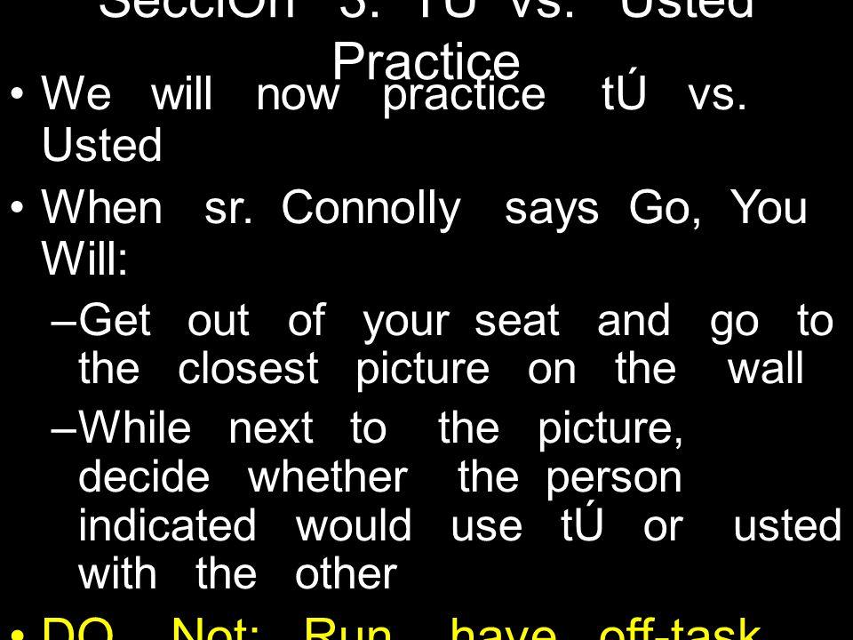 SecciÓn 3: TÚ vs. Usted Practice We will now practice tÚ vs.