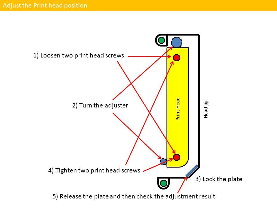 Adjust the Print head position 1) Loosen two print head screws 4) Tighten two print head screws Print Head Head jig 2) Turn the adjuster 3) Lock the p