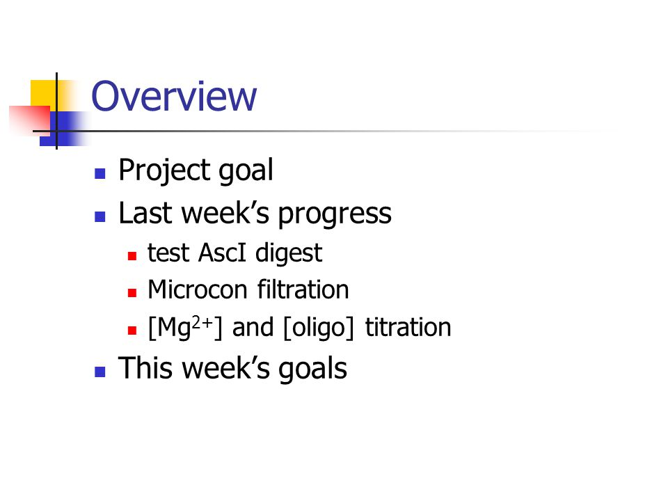 Overview Project goal Last week's progress test AscI digest Microcon filtration [Mg 2+ ] and [oligo] titration This week's goals
