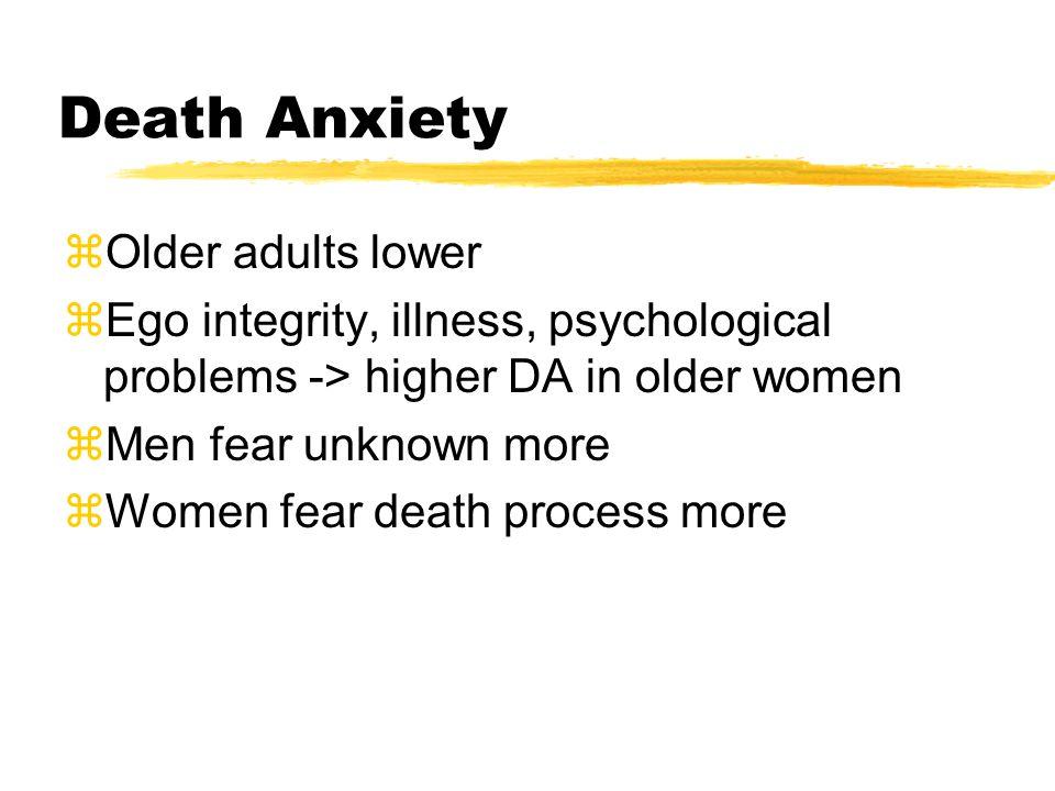 Death Anxiety zOlder adults lower zEgo integrity, illness, psychological problems -> higher DA in older women zMen fear unknown more zWomen fear death