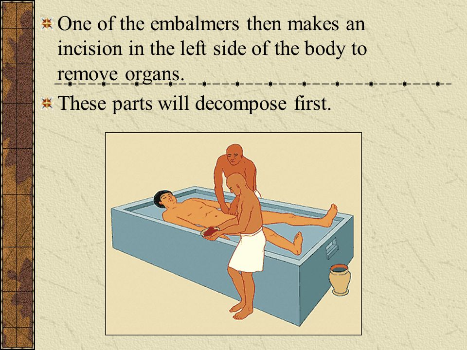 How to Make a Mummy The body is taken to a sacred tent, the Ibu (place of purification)- from start to finish the process took 70 days Here the body is washed with fragrant palm wine and water from the Nile.