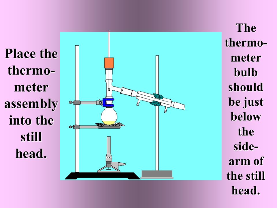 Place the thermo- meter assembly into the still head.