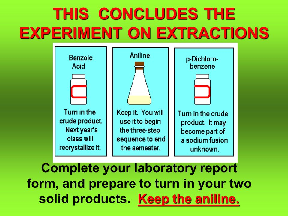 THIS CONCLUDES THE EXPERIMENT ON EXTRACTIONS Keep the aniline.