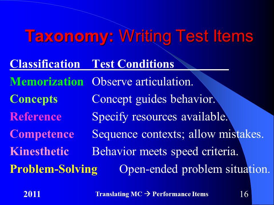 162011 Translating MC  Performance Items Taxonomy: Writing Test Items ClassificationTest Conditions MemorizationObserve articulation.
