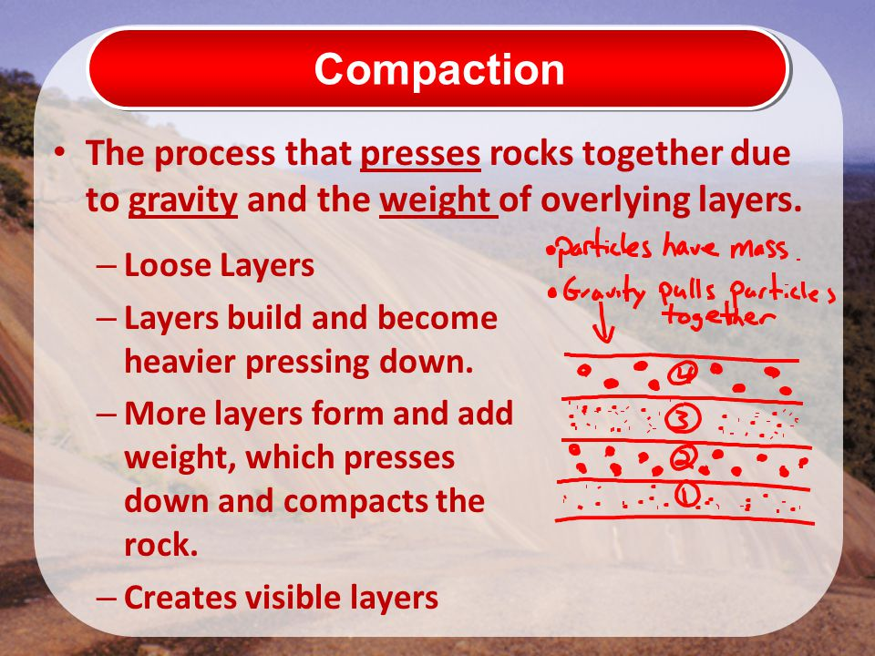 Compaction The process that presses rocks together due to gravity and the weight of overlying layers. – Loose Layers – Layers build and become heavier