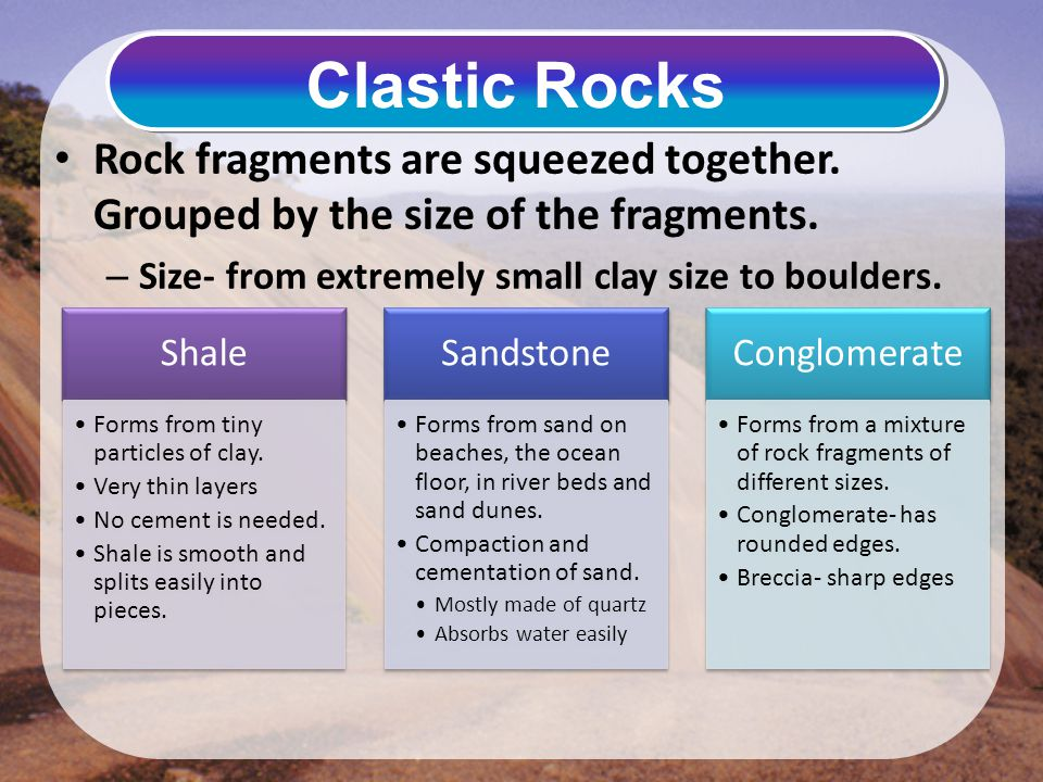 Rock fragments are squeezed together. Grouped by the size of the fragments. – Size- from extremely small clay size to boulders. Clastic Rocks Shale Fo