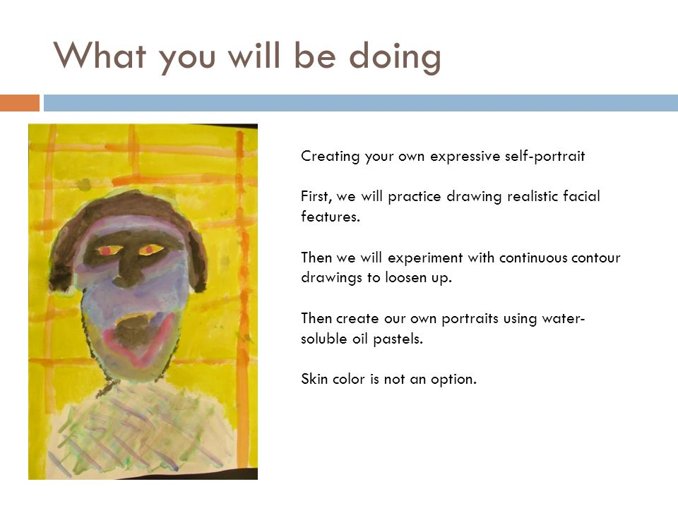 What you will be doing Creating your own expressive self-portrait First, we will practice drawing realistic facial features.
