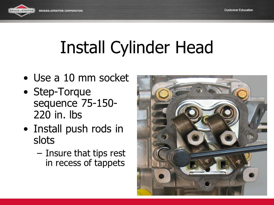 Customer Education Install Cylinder Head Use a 10 mm socket Step-Torque sequence 75-150- 220 in. lbs Install push rods in slots –Insure that tips rest