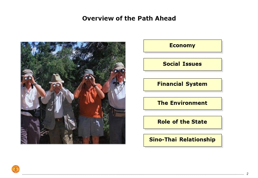 2 Overview of the Path Ahead Economy Social Issues Financial System The Environment Role of the State Sino-Thai Relationship