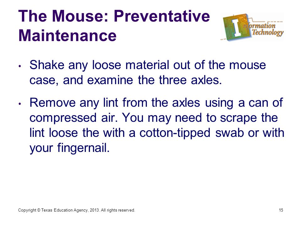 The Mouse: Preventative Maintenance 15 Shake any loose material out of the mouse case, and examine the three axles.