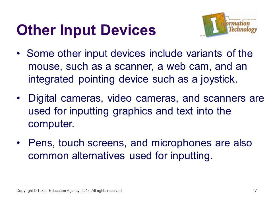 Other Input Devices 17 Some other input devices include variants of the mouse, such as a scanner, a web cam, and an integrated pointing device such as a joystick.