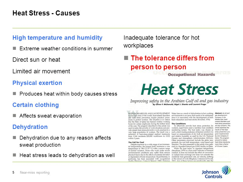 Near-miss reporting5 Heat Stress - Causes High temperature and humidity Extreme weather conditions in summer Direct sun or heat Limited air movement P