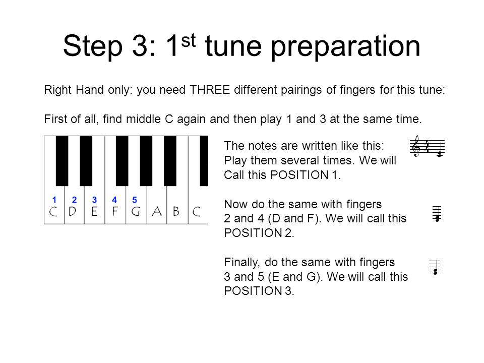 Step 3: 1 st tune preparation Right Hand only: you need THREE different pairings of fingers for this tune: First of all, find middle C again and then