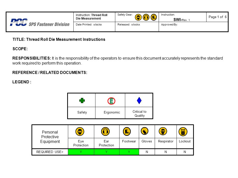 TITLE: Thread Roll Die Measurement Instructions SCOPE: RESPONSIBILITIES: It is the responsibility of the operators to ensure this document accurately represents the standard work required to perform this operation.