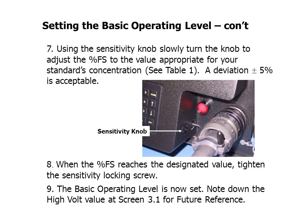Setting the Basic Operating Level – con't 7.