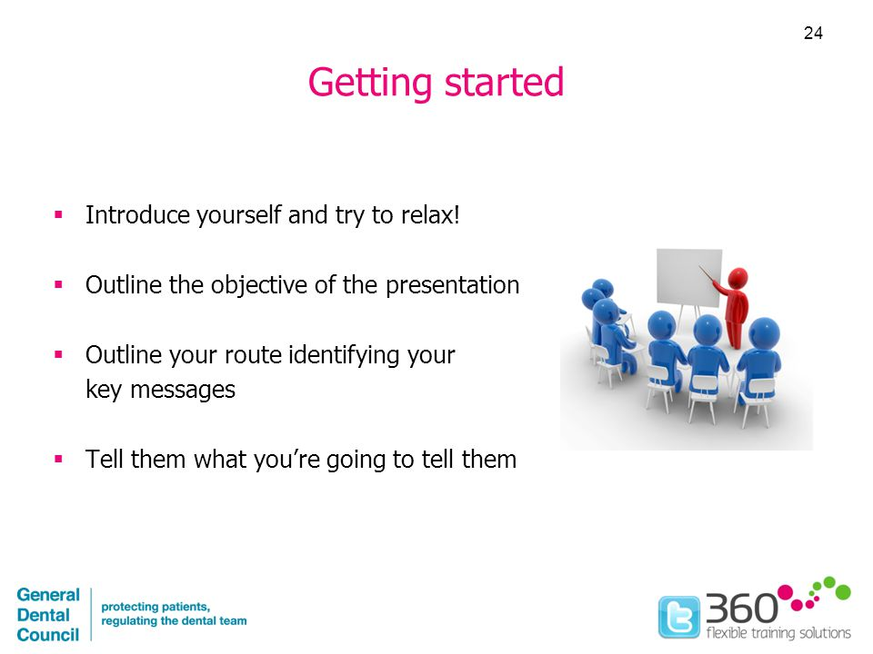 Getting started  Introduce yourself and try to relax.