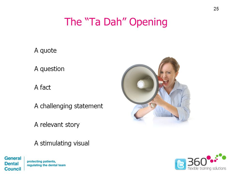 The Ta Dah Opening A quote A question A fact A challenging statement A relevant story A stimulating visual 25