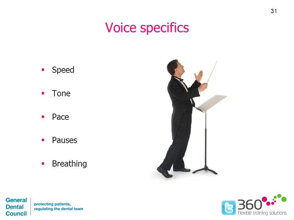 Voice specifics  Speed  Tone  Pace  Pauses  Breathing 31