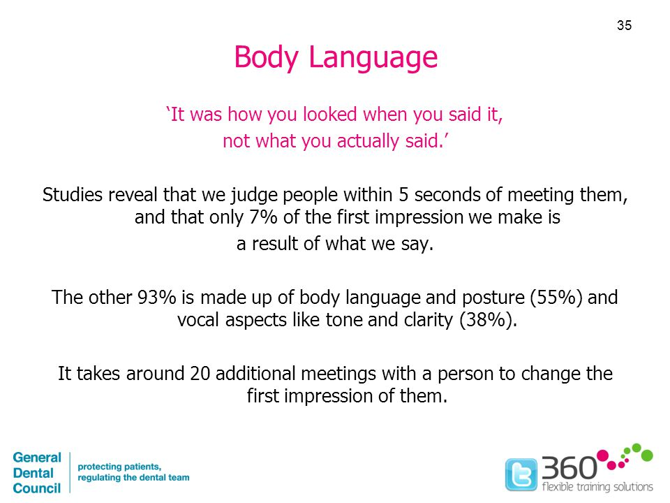 Body Language 'It was how you looked when you said it, not what you actually said.' Studies reveal that we judge people within 5 seconds of meeting them, and that only 7% of the first impression we make is a result of what we say.