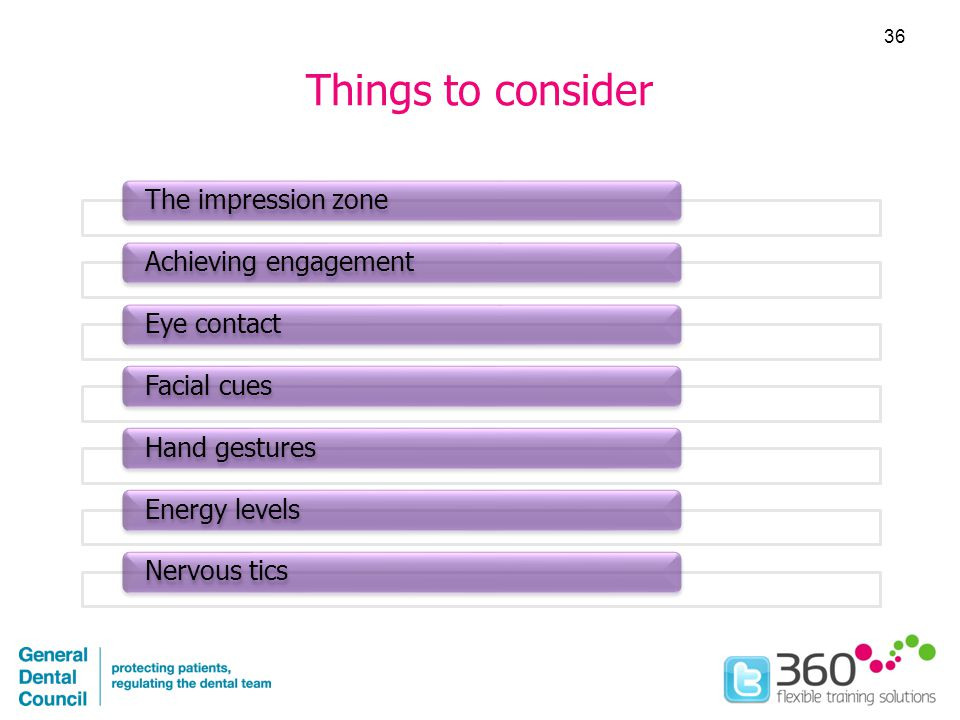 Things to consider The impression zoneAchieving engagementEye contactFacial cuesHand gesturesEnergy levelsNervous tics 36