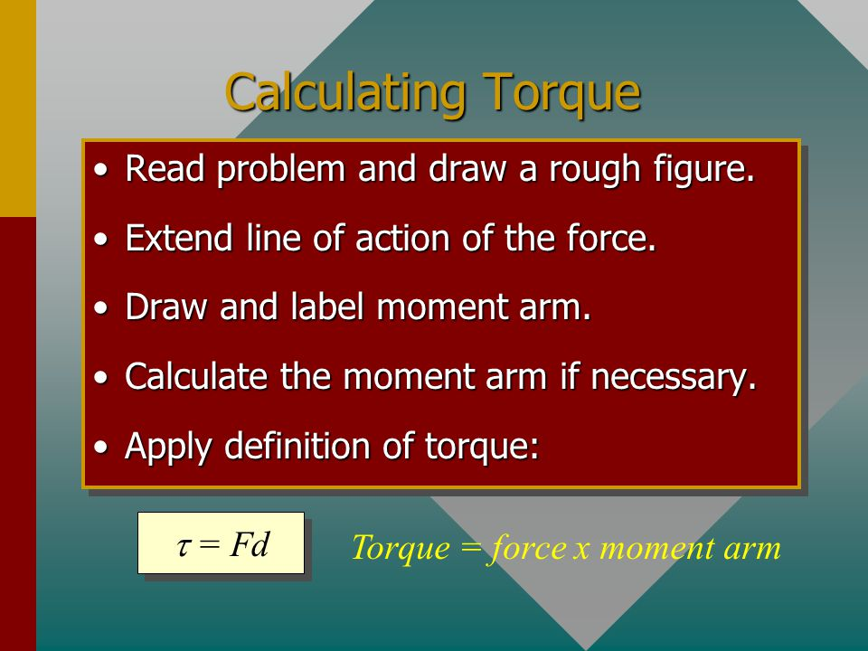 The Moment Arm The moment arm of a force is the perpendicular distance from the line of action of a force to the axis of rotation. F2F2 F1F1 F3F3 d d