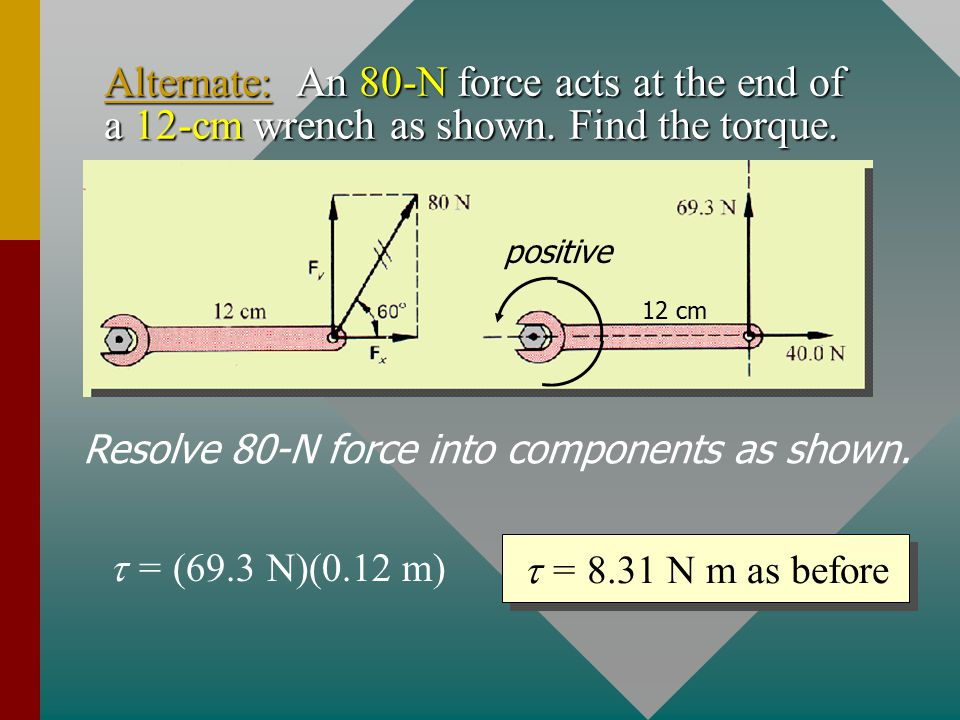 Example 1: An 80-N force acts at the end of a 12-cm wrench as shown.
