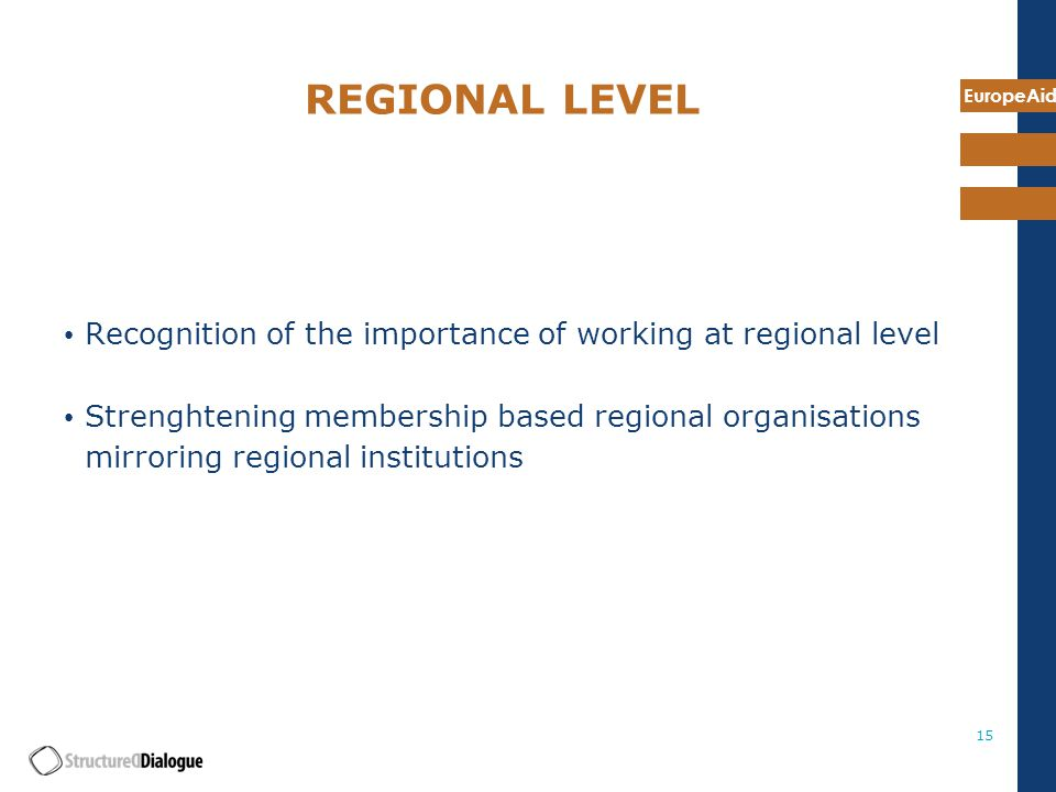 EuropeAid 15 REGIONAL LEVEL Recognition of the importance of working at regional level Strenghtening membership based regional organisations mirroring regional institutions
