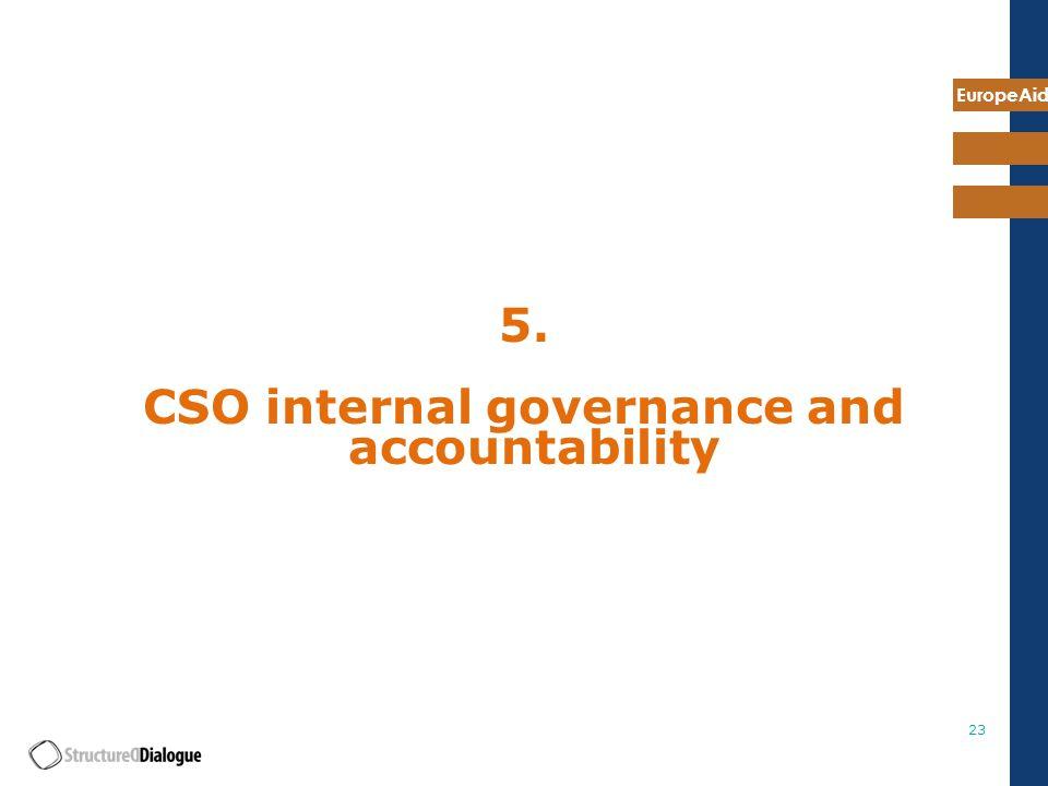 EuropeAid 23 5. CSO internal governance and accountability
