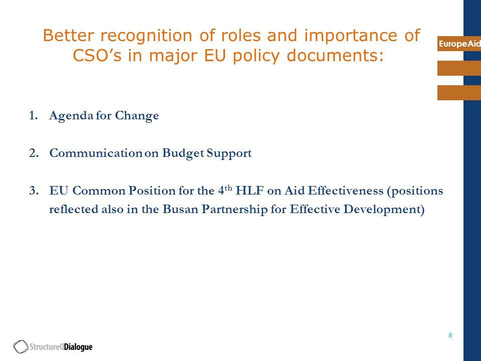 EuropeAid 19 1. CSO's and Development Effectiveness Principles