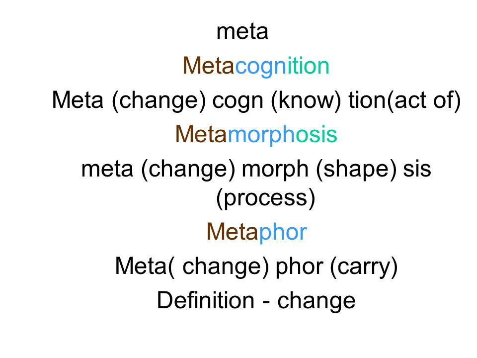 meta Metacognition Meta (change) cogn (know) tion(act of) Metamorphosis meta (change) morph (shape) sis (process) Metaphor Meta( change) phor (carry) Definition - change