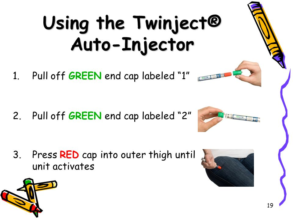 "19 Using the Twinject® Auto-Injector 1.Pull off GREEN end cap labeled ""1"" 2.Pull off GREEN end cap labeled ""2"" 3.Press RED cap into outer thigh until"