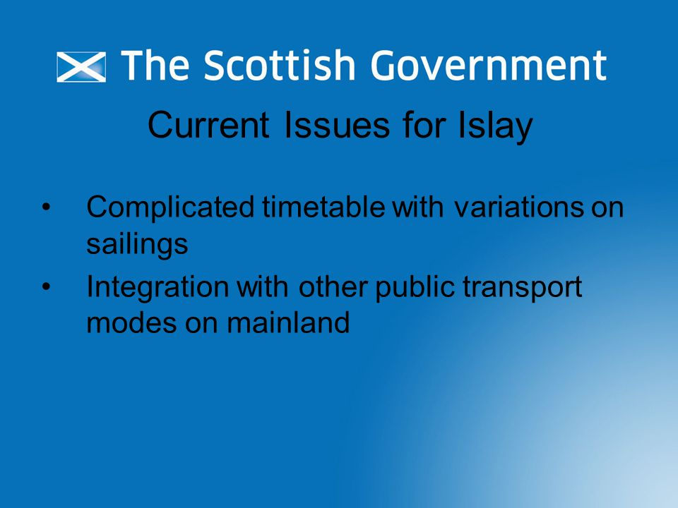 Current Issues for Islay Complicated timetable with variations on sailings Integration with other public transport modes on mainland