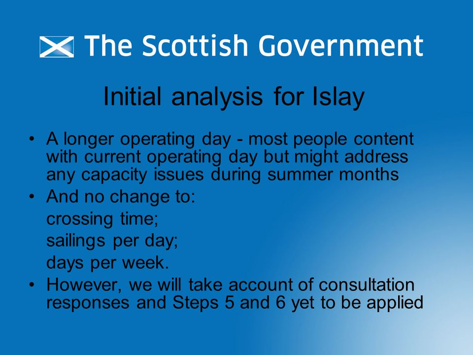 Initial analysis for Islay A longer operating day - most people content with current operating day but might address any capacity issues during summer months And no change to: crossing time; sailings per day; days per week.