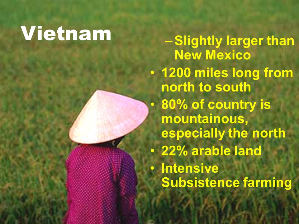 Physical Geography –Slightly larger than New Mexico 1200 miles long from north to south 80% of country is mountainous, especially the north 22% arable land Intensive Subsistence farming Vietnam