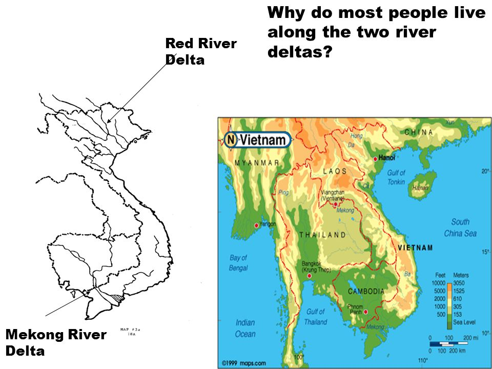 Red River Delta Mekong River Delta Why do most people live along the two river deltas