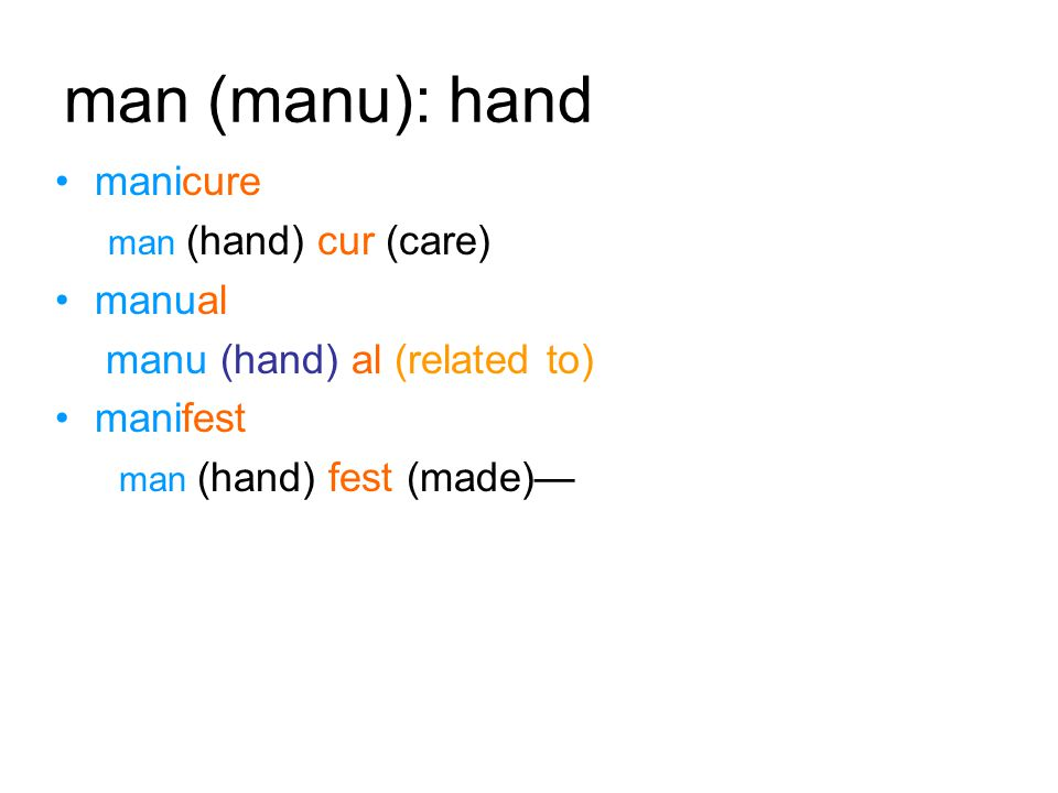 man (manu): hand manicure man (hand) cur (care) manual manu (hand) al (related to) manifest man (hand) fest (made)—