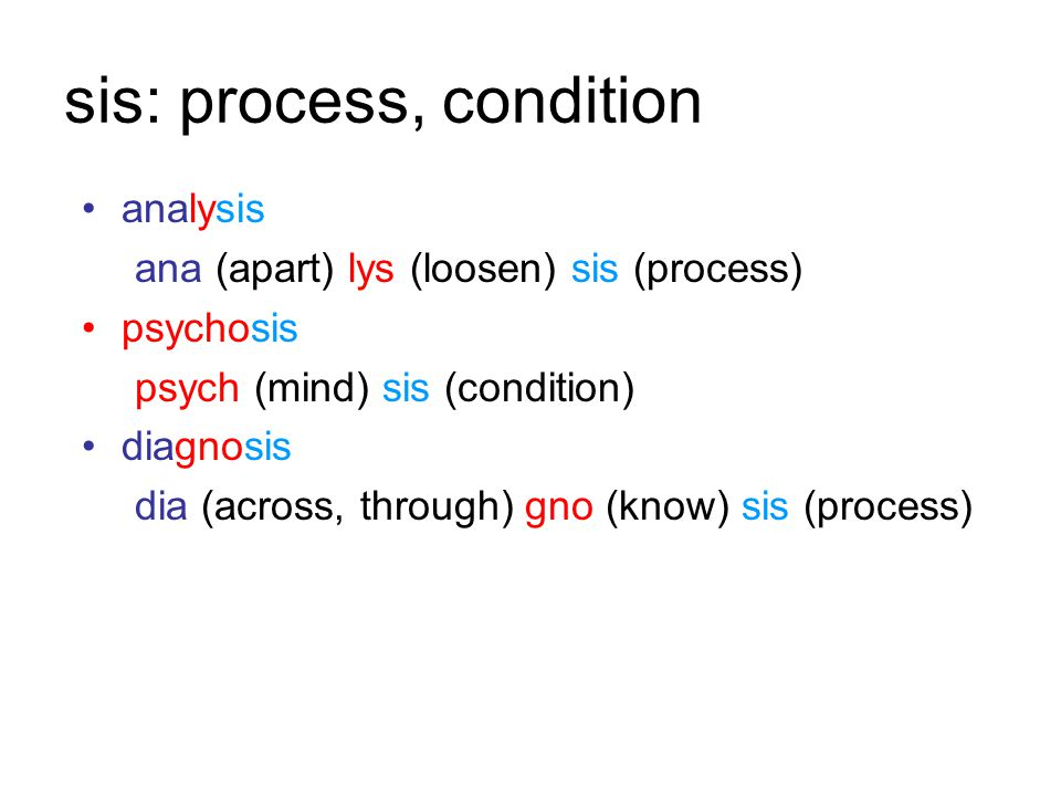 sis: process, condition analysis ana (apart) lys (loosen) sis (process) psychosis psych (mind) sis (condition) diagnosis dia (across, through) gno (know) sis (process)