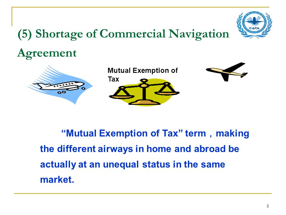 8 (5) Shortage of Commercial Navigation Agreement Mutual Exemption of Tax term , making the different airways in home and abroad be actually at an unequal status in the same market.