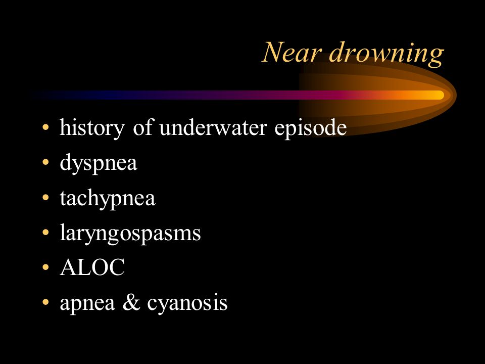 Water accidents drowning/near drownings diving injuries –air embolism –bends or decompression sickness