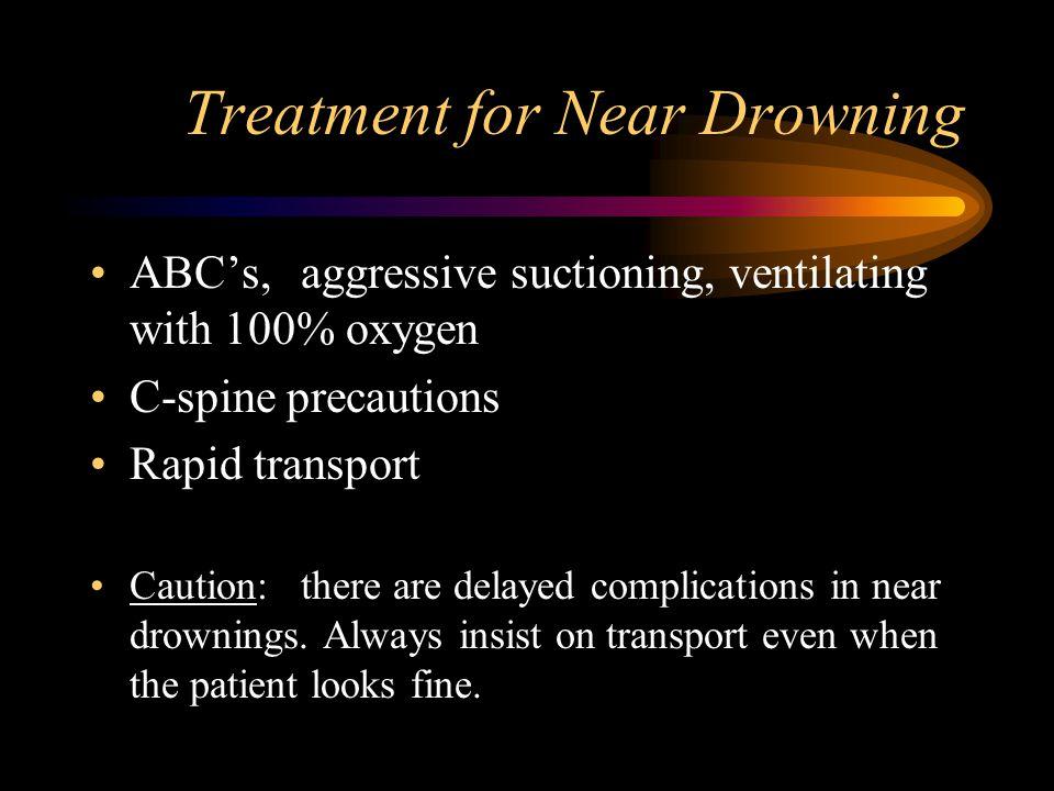 Near drowning history of underwater episode dyspnea tachypnea laryngospasms ALOC apnea & cyanosis