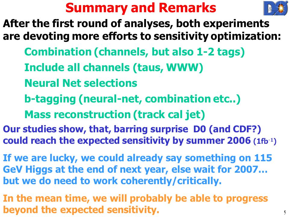 Gregorio Bernardi / Paris 15 Summary and Remarks After the first round of analyses, both experiments are devoting more efforts to sensitivity optimization: Combination (channels, but also 1-2 tags) Include all channels (taus, WWW) Neural Net selections b-tagging (neural-net, combination etc..) Mass reconstruction (track cal jet) Our studies show, that, barring surprise D0 (and CDF ) could reach the expected sensitivity by summer 2006 (1fb -1 ) If we are lucky, we could already say something on 115 GeV Higgs at the end of next year, else wait for 2007… but we do need to work coherently/critically.