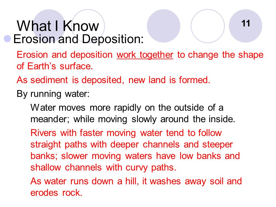 What I Know Erosion and Deposition: Erosion and deposition work together to change the shape of Earth's surface.