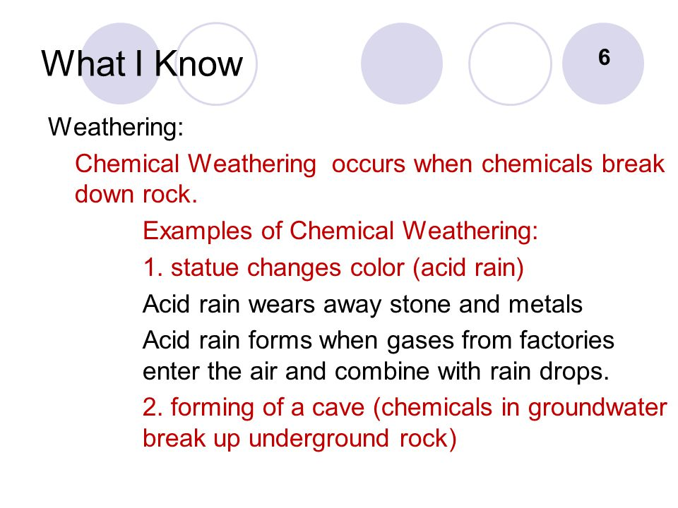 What I Know Weathering: Chemical Weathering occurs when chemicals break down rock.