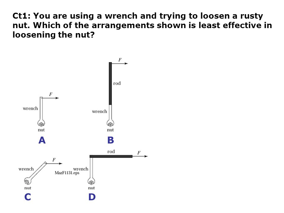 Ct1: You are using a wrench and trying to loosen a rusty nut.